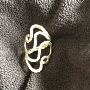Hammered sterling silver adjustable bypass ring
